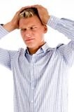 Young tense man Royalty Free Stock Photography