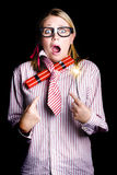 Fired business woman in dynamite fright Stock Photos