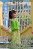 Young Thai girl. Cute girl smiling with Thai dress royalty free stock photography