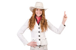 Young   thinking cowgirl Royalty Free Stock Photography