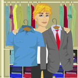 Young thinking man choosing between business suit and shirt from his wardrobe Stock Photos