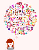 Young Thinking Woman Vector Illustration Stock Photos