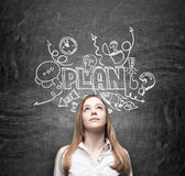 A young thoughtful business lady is dreaming about building of a business plan for business development. Business plan sketch is d Stock Images