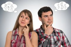 Young thoughtful couple and bubbles with their dreams. Planning family concept Royalty Free Stock Photography