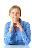 Young thoughtful female in blue shirt isolated Stock Photo