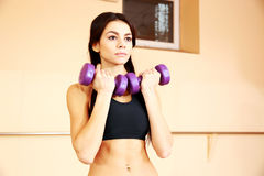 Young thoughtful fit woman doing exercises with dumbells stock image
