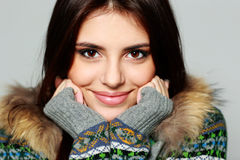 Young thoughtful woman in warm winter outfit Stock Photo