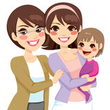 Young Three Generation Family. Women happy smiling together stock illustration