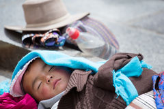 Young Tibetan child sleeping peacefully Royalty Free Stock Photo