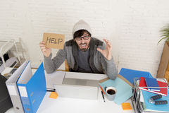 Young tired hispanic hipster businessman busy asking for help suffering stress Royalty Free Stock Photography