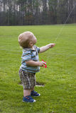 Young toddler flying kite Stock Image