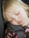 Young toddler girl in car seat Royalty Free Stock Images