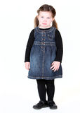 Young toddler girl with pout. On white Royalty Free Stock Photos