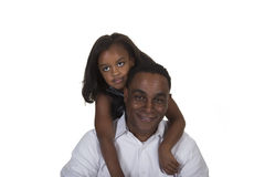 Young toddler and her father isolated against a white background Royalty Free Stock Photos