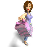 A young toon girl hands a gift over to you Royalty Free Stock Image