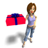 A young toon girl hands a gift over to you Stock Photos