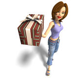 A young toon girl hands a gift over to you. Young toon girl with a gift. 3D render with clipping path and shadow over white Royalty Free Stock Photo