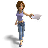 A young toon girl hands a letter over to you Royalty Free Stock Photos