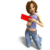 Young toon girl received a love letter Stock Images