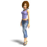 Young toon girl standing. 3D render with clipping path and shadow over white Royalty Free Stock Images