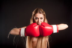 Young topless woman with boxing gloves Royalty Free Stock Photo