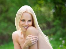 Young Topless Woman In Nature Stock Photography