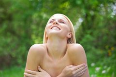 Young Topless Woman Relaxing In Nature Stock Photos