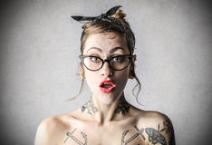 Young tough woman with tattoos Royalty Free Stock Photo