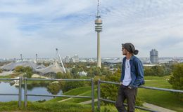 Tourist in Olympiapark Munich, Germany Royalty Free Stock Photography
