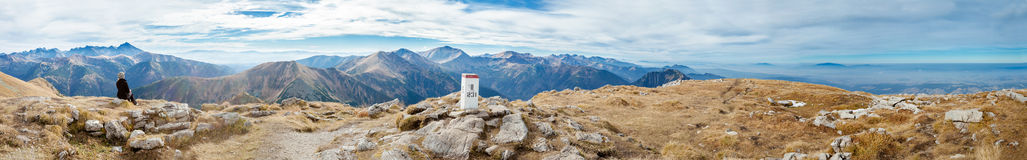 Young tourist in beautiful Tatry mountains Stock Photography