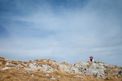 Young tourist in beautiful Tatry mountains Royalty Free Stock Photography