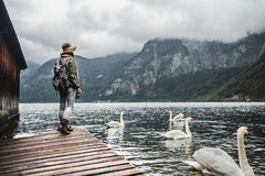Young Tourist By The Lake Royalty Free Stock Photos