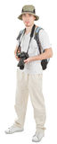 Young tourist with camera. Young man tourist with camera on white Stock Image