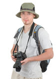 Young tourist with camera. Young man tourist with camera on white Stock Photos