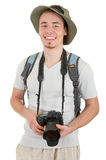 Young tourist with camera. Young man tourist with camera on white Stock Images