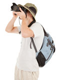Young tourist with camera Royalty Free Stock Photos