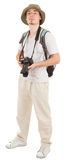 Young tourist with camera. Young man tourist with camera on white Royalty Free Stock Image