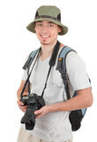 Young tourist with camera. Young man tourist with camera on white Royalty Free Stock Images