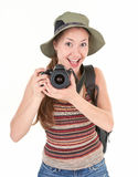 Young tourist with camera Stock Image
