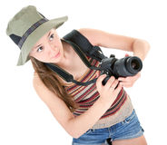 Young tourist with camera Stock Photos