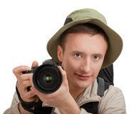 Young tourist with camera Royalty Free Stock Photo