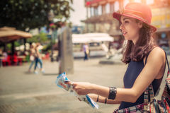 Young tourist in the city looking a map stock image