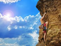 Young tourist climbing Royalty Free Stock Photography