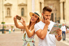 Young tourist couple Stock Photography