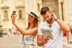 Young tourist couple Stock Photos