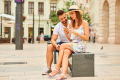 Young tourist couple on the square Royalty Free Stock Photography