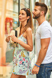 Young tourist couple on the street Stock Photography