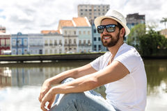 Young tourist enjoying a beautiful day in Recife, Brazil.  Royalty Free Stock Image