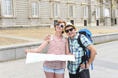 Young tourist friends couple visiting Madrid in Spain together smiling happy and relaxed Stock Photography