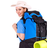 Young tourist girl with backpack Stock Images